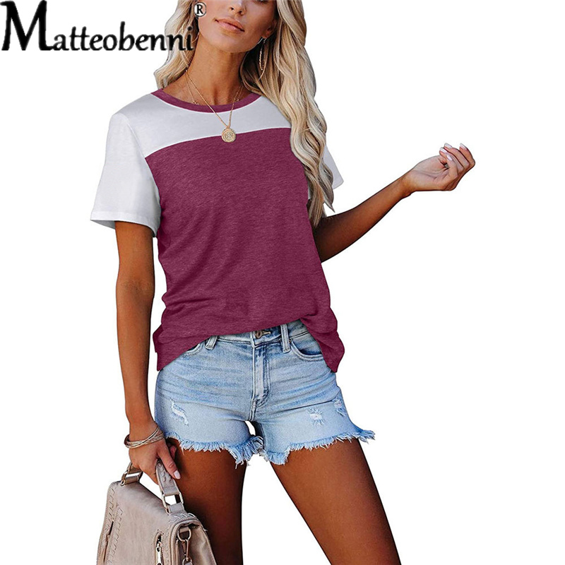 S-2XL Large Size 2021 Summer Women Contrast Stitching Short-Sleeved T-Shirt Ladies Fashion Casual Loose Streetwear T-Shirt Tops