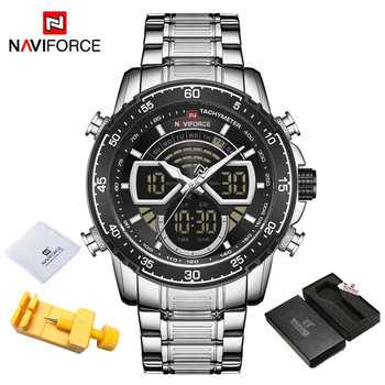 NAVIFORCE Mens Military Sports Waterproof Watches Luxury Analog Quartz Digital Wrist Watch for Men Bright Backlight Gold Watches 17