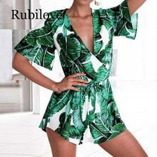 Rubilove Summer Jumpsuit For Women Sexy Leaf deep v neck Overalls casual ruffles sleeve Bandage Playsuits body Femme
