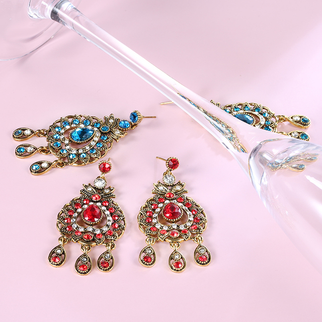 From India Vintage Look Jewelry Sets Pendants Necklace Earring For Women Gold-Color Mosaic  Blue Crystal Party Gifts 4