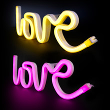 LED Neon Leuchten Liebe Form Nacht Licht Zeichen Lampe Flamingo Sterne Einhorn Anlage Nacht Licht Für Valentinstag Hochzeit party Decor