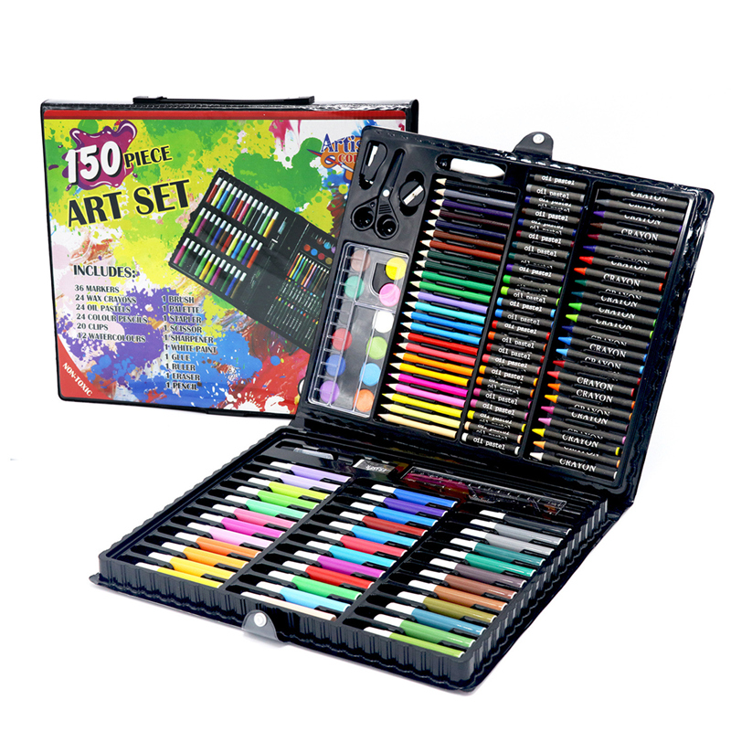 Kinder Kunst Set Kinder Zeichnung Set Wasser Farbe Stift Kreide Öl Pastell Malerei Zeichnung Werkzeug Kunst lieferungen schreibwaren set 150 pcs