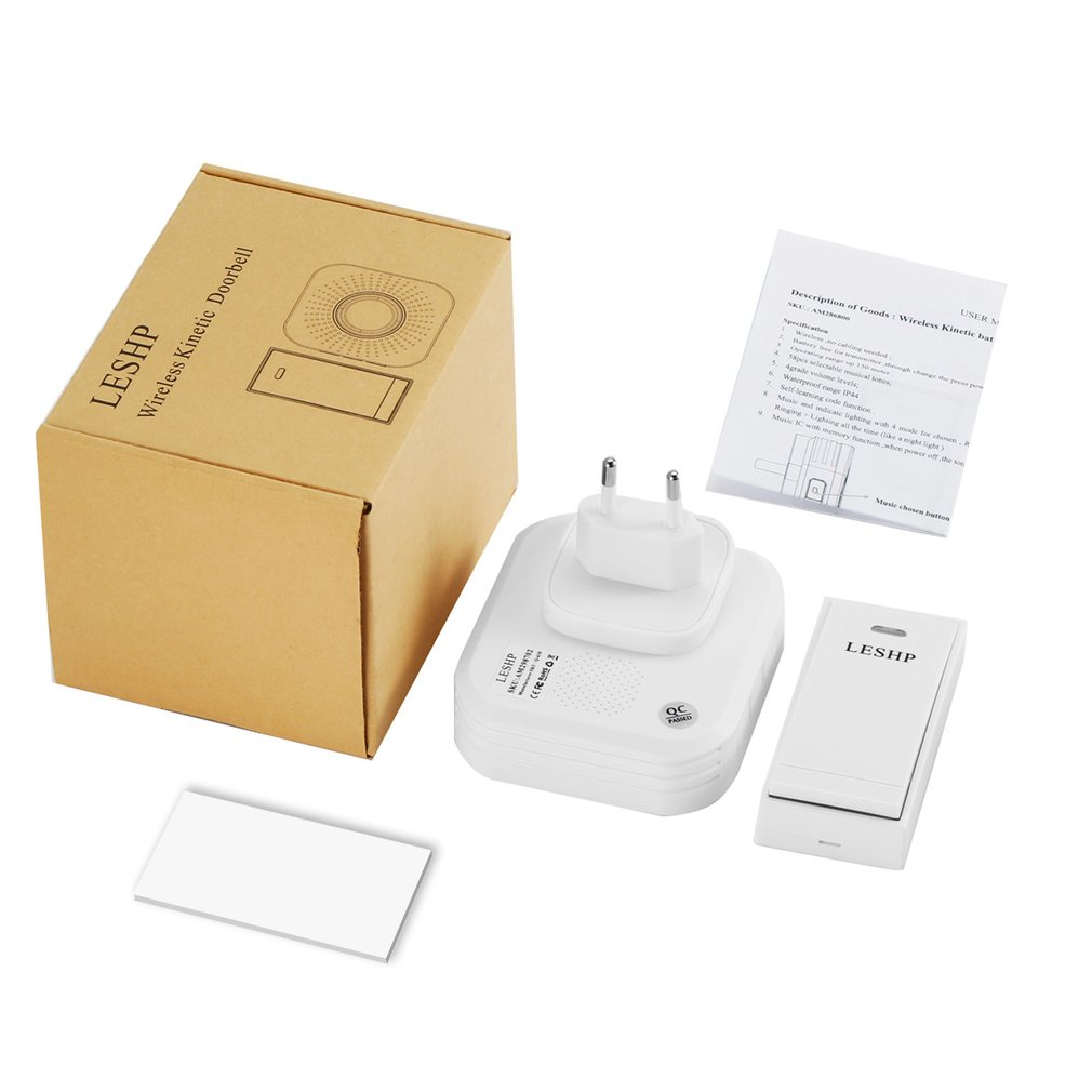 LESHP Easy to Install Music Wireless Doorbell 150M Long-distance Remote Control Night Light 58 pieces of Chord Music