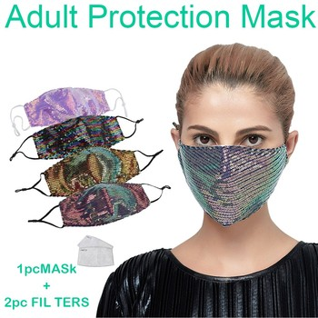 new luxury face mask women protective sequin mask with 2filters dustproof anti pollution face masks washable