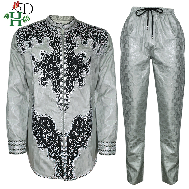 H&D African Men Dashiki Clothes Shirt Pants Suit For Men Embroidery Tops Trouser Set Long Sleeve Shirt South Africa Clothing
