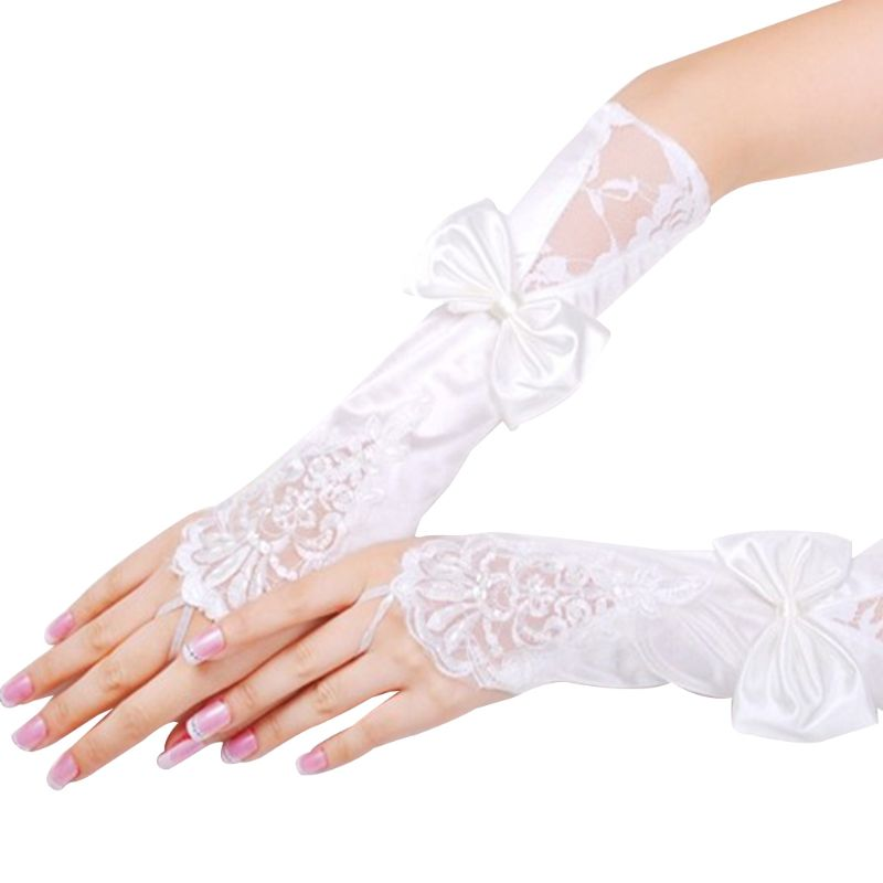 Women Bridal Long Gloves Fingerless Lace Patchwork Faux Pearl Glitter Sequins Mittens Bowknot Elbow Length Hook Finger Warmers