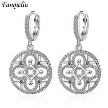 Женские круглые висячие серьги fanqieliu из серебра 925 пробы