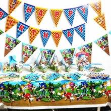 1 conjunto sonic hedgehog descartável utensílios de mesa suprimentos chuveiro do bebê festa de aniversário placas bandeiras toppers embalagens balões decoração festa