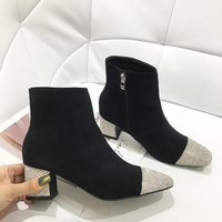 Hot Selling Women Fashion Bling Bling High Heel Rhinestone Ankle Boots Dress Shoes Luxury Diamond Party Shoes Woman Short Boots