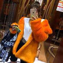 Jacket Coat Fur Mink Furry Outerwear Hairy Faux-Fur Long-Sleeve Shaggy Winter Women High-Quality
