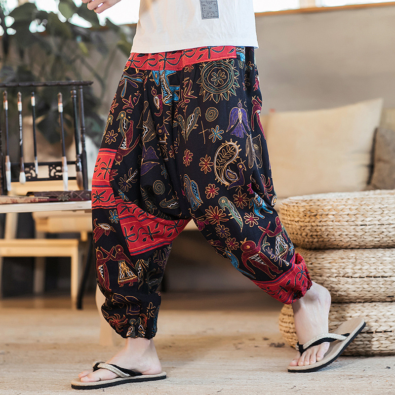 2019 Autumn And Winter Chinese-style Nepal Flax Flower Pants Men's Big Crotch Saggy Pants Men's Fashion Loose And Plus-sized Tro