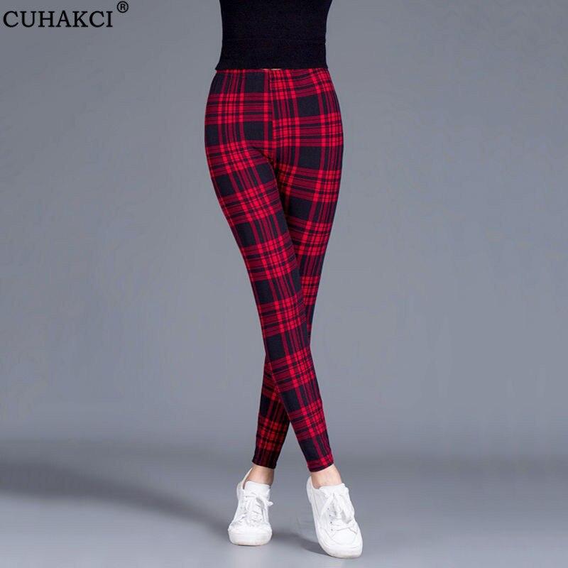 CUHAKCI Female Fitness Leggings Women Print Plaid Leggings Lady Sexy Slim Pencil Pants Push Up Elastic Waist Plus Size Trousers|Leggings| - AliExpress