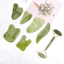 Jade Roller Massage-Tools Guasha Natural-Stone Facial Quartz-Sets Face-Lift Anti-Wrnkle