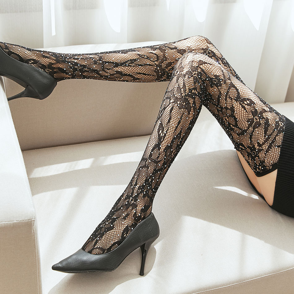 Fishnet Stockings For Women Lace Breathable Stockings Women's Sexy Hollow Mesh Stockings Fashion Shiny Striped Stockings