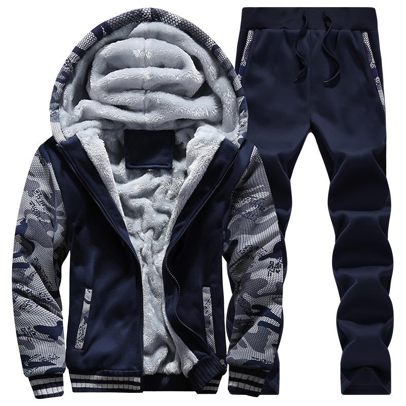 European And American Minimalist Autumn & Winter Men Hooded Brushed And Thick Camouflage Sweater Trousers Large Size Leisure Spo