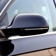 Araba ayna kapağı Audi B8 A3 A4 A5 A6 S4 RS4 S6 RS6 1 çift parlak siyah dikiz aynası kapak koruma kapağı araba Styling