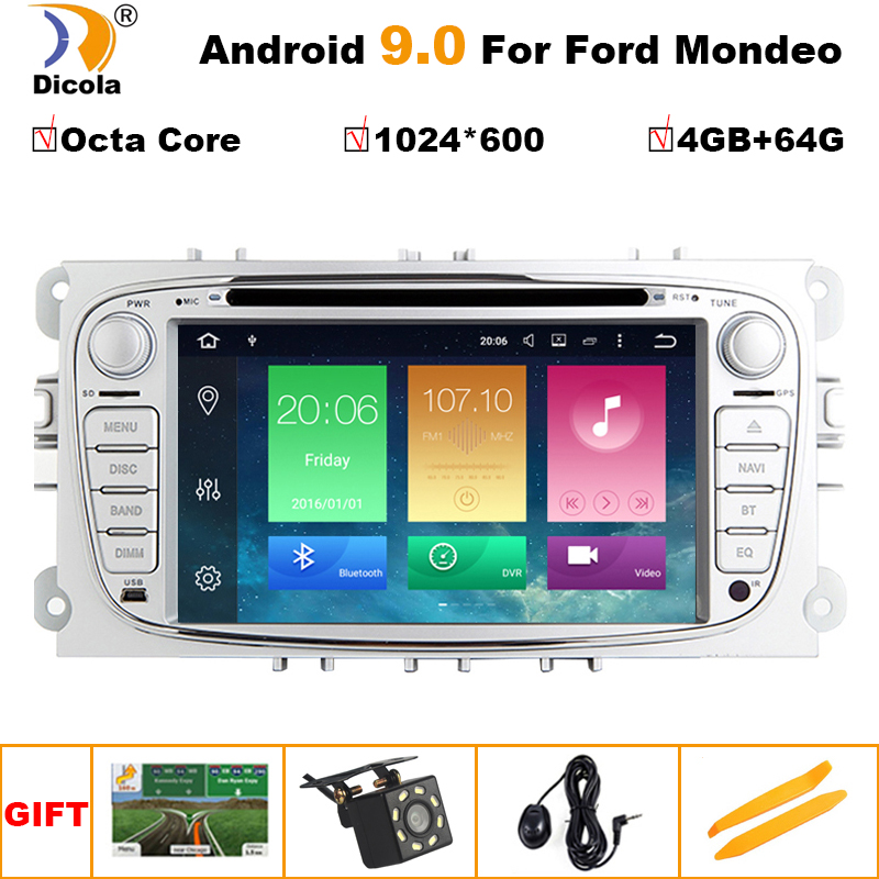 2 Din 7 Ips 4G + 64G Android 9.0 Car Dvd Multimedia Player per Ford Focus Mondeo s MAX C MAX Galaxy Radio 2din Gps Navi Stereo Pc