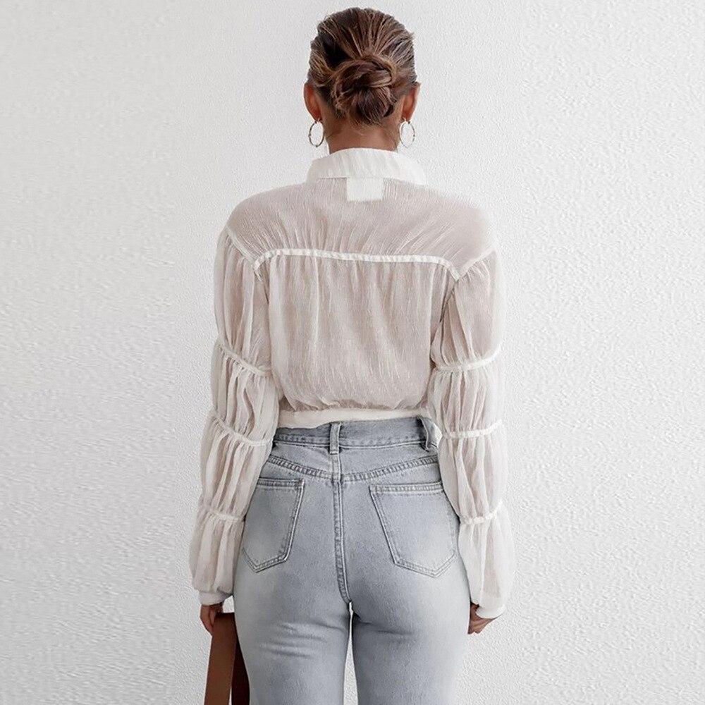 Купить элегантная блузка с воротником стойкой длинным рукавом сетчатая