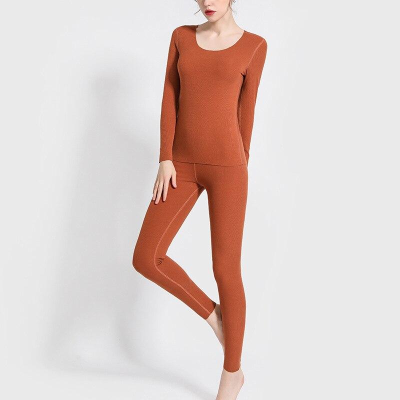 Winter New Sam Free Cut Seamless Heating Thermal Underwear Sets Women T Shirt+pants 2 Pieces Pajamas Sets Long Johns Warm Suits