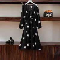 Осеннее платье Fat Mm2019, женское платье большого размера, новое тонкое платье в стиле ретро с v образным вырезом и длинными рукавами с большой в...