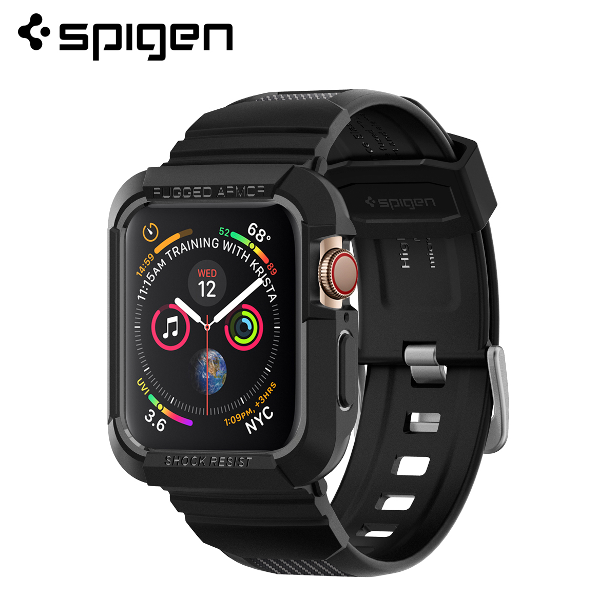 Spigen Rugged Armor Pro For Apple Watch Series 5 / 4  - Flexible Soft TPU Matte Black Protective Cases