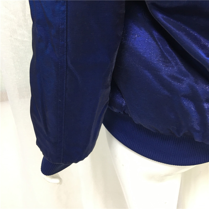 Jinsirong бархатная синяя куртка бейсбольная форма 2019 Новое поступление пальто с натуральным меховым воротником для женщин Высококачественная подкладка из искусственного меха - 6