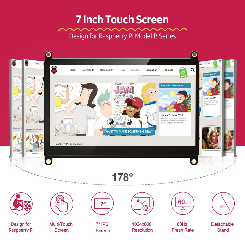 UPERFECT Portable Monitor Raspberry Pi touch screen 7-inch 1024X600 with dual speakers portable capacitive IPS display with HDMI 2