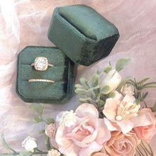 Octagon Velvet Ring Box Double Ring Display Holder with Detachable Lid Ring Box Holder for Wedding Ceremony(Dark Gray)
