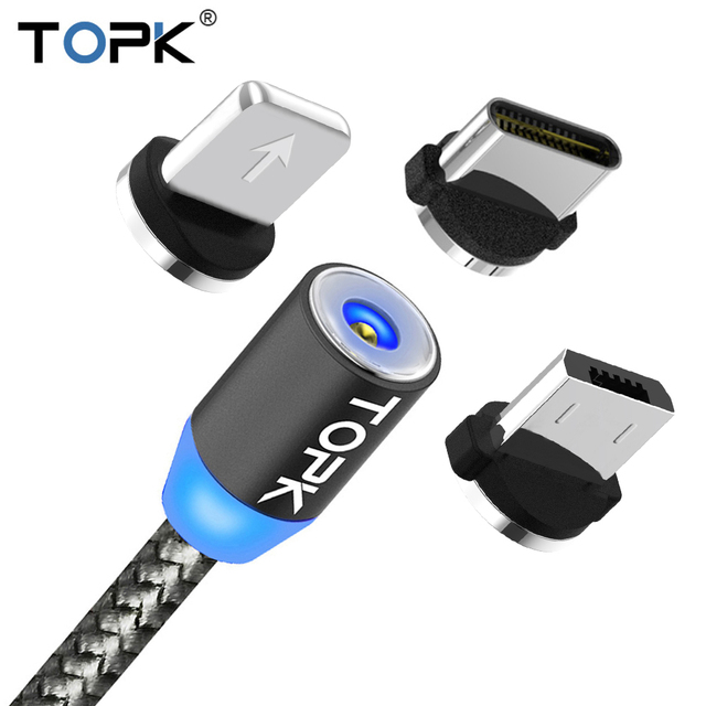 LED Magnet USB Cable for iPhone w/ Type C