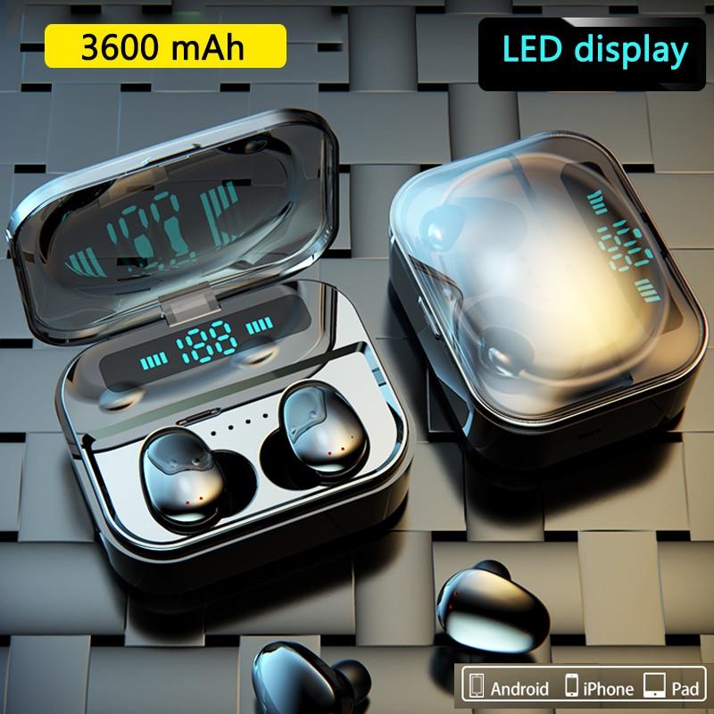 3600mAh TWS Bluetooth 5.0 Earphone Stereo Wireless Earbus HIFI Sound Sport Earphones Handsfree Gaming Headset With Mic For Phone