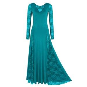 Image 3 - セクシーなレース社交ダンスドレス女性長袖ワルツタンゴダンスのドレス標準社交ドレス黒/赤/ ブルー/グリーン