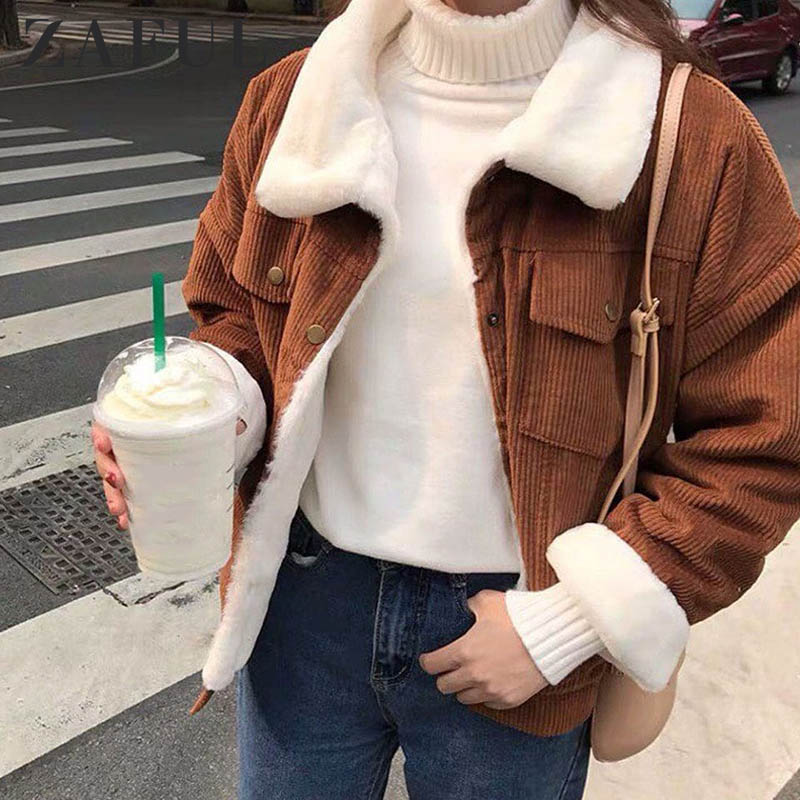 ZAFUL Fuzzy Corduroy Jacket Women Winter Thick Lined Coats Parkas Faux Fur Lining Bomber Jackets Cute Outwear 2019 Warm Tops