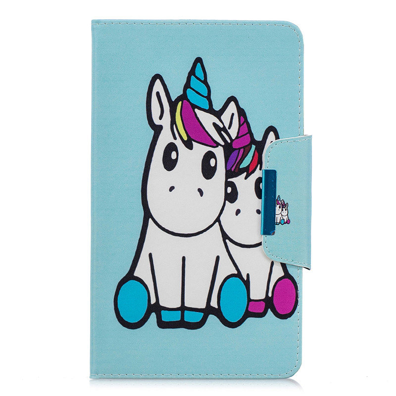 Kawaii Unicorn Panda Leather Tablet Cover On For Samsung Galaxy Tab A 8.0 Inch (2018) SM-T387 T387V T387P Case Coque + Pen