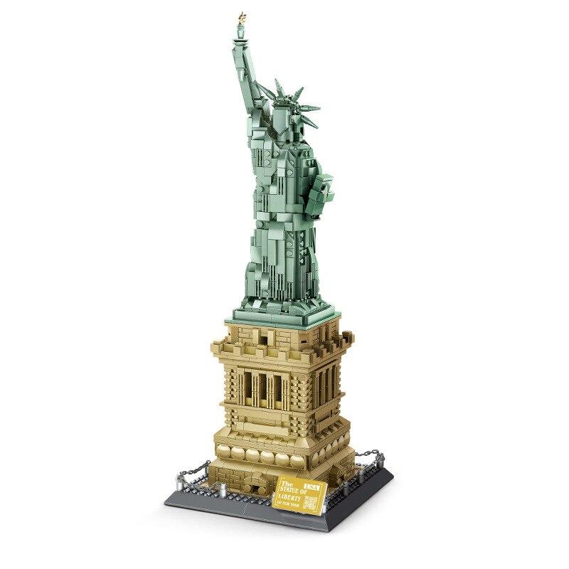 Wange World Architecture серия Статуя Свободы модель строительные блоки Набор Классический город МОС streetview игрушки для детей подарок