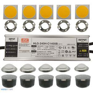 250 w cree cob cxb3590 led crescer llight 5pc kit com meanwell regulável led driver HLG-240H-C1400B 133mm lente do dissipador de calor suporte ideal