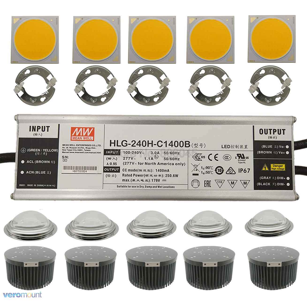 250W CREE COB CXB3590 LED Grow Llight 5pc Kit With Meanwell Dimmable Led Driver HLG-240H-C1400B 133mm Heatsink Lens Ideal Holder