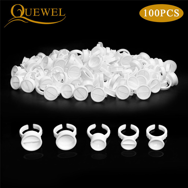 Quewel 100Pcs Disposable Eyelashes Glue Rings Tattoo Pigment Adhesive Palette Holder Container Eyelash Extension Tool Wholesale