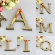 1 Uds. 26 letras inglesas DIY 3D espejo acrílico pegatinas de pared superficie decoración moderna para el hogar pared arte Mural Fumiture pegatinas B1
