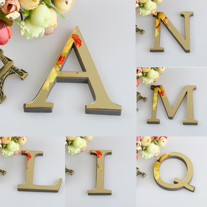 1PCS 26 English Letters DIY 3D Mirror Acrylic Wall Sticker Decals Surface Modern Home Decor Wall Art Mural Fumiture Stickers B1(China)