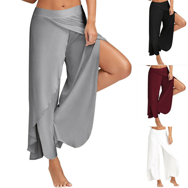 Goocheer   Wide     Leg     Pants   Chiffon Women Fit 2XL High Waist Solid Elegant Vintage Fashion Bottoms Summer Long   Pant   Female Plus Size