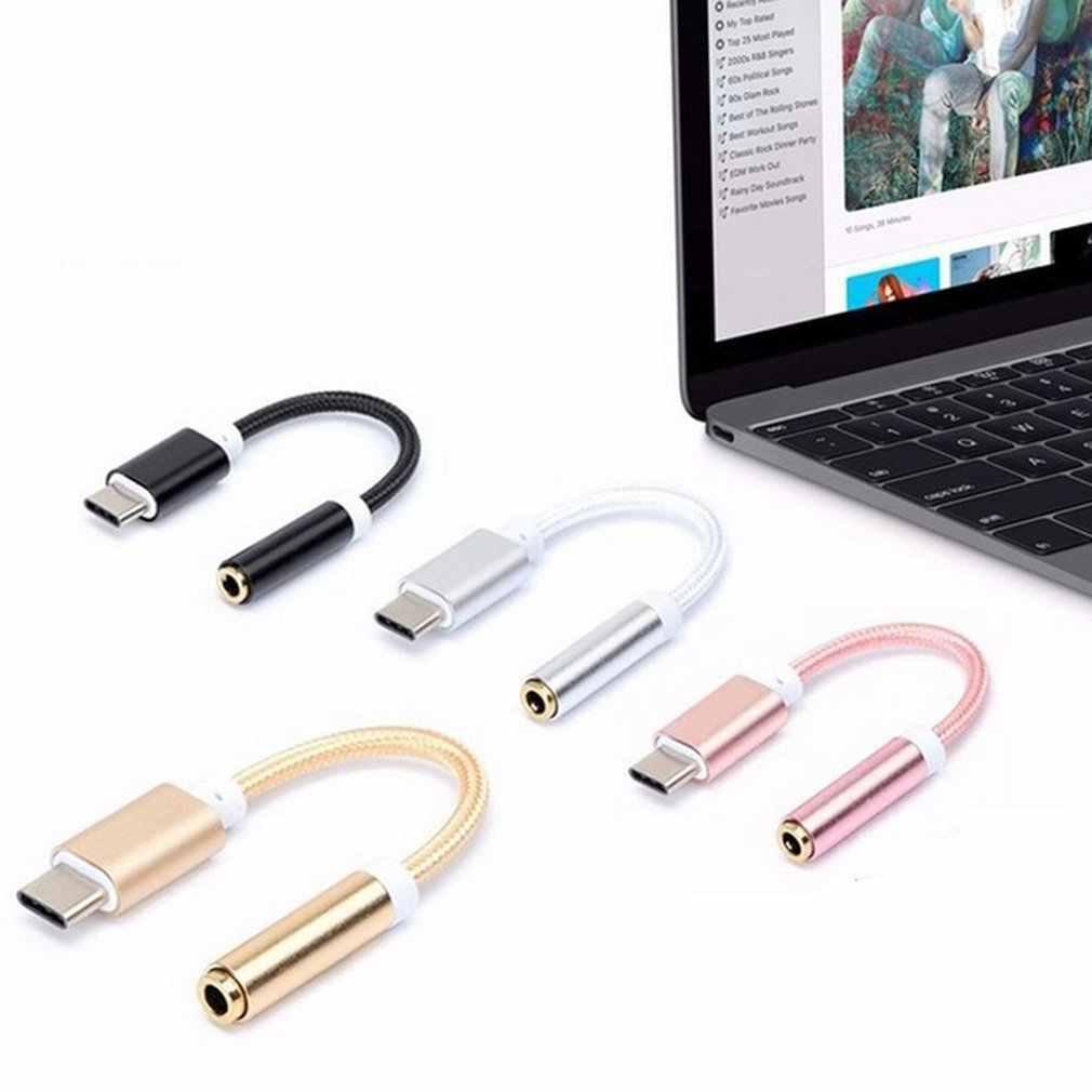 Mini Portable USB 3.1 type-c do 3.5mm złącze audio mikrofon adapter żeński z elastycznym ręcznie pleciony drut