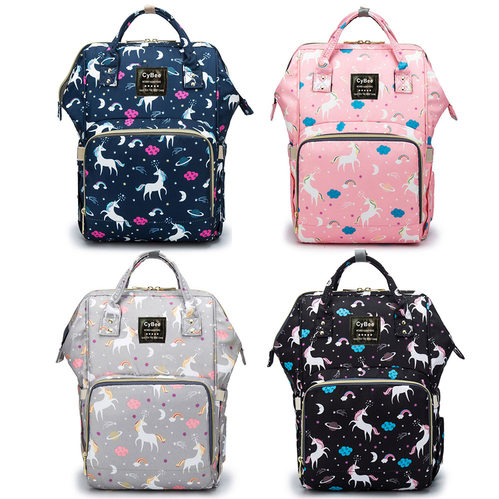 Waterproof Diaper Bag Backpack Luiertas Multi-Function Large Capacity Travel Backpack Nappy Bag Unicorn Print Baby Bag For Mommy