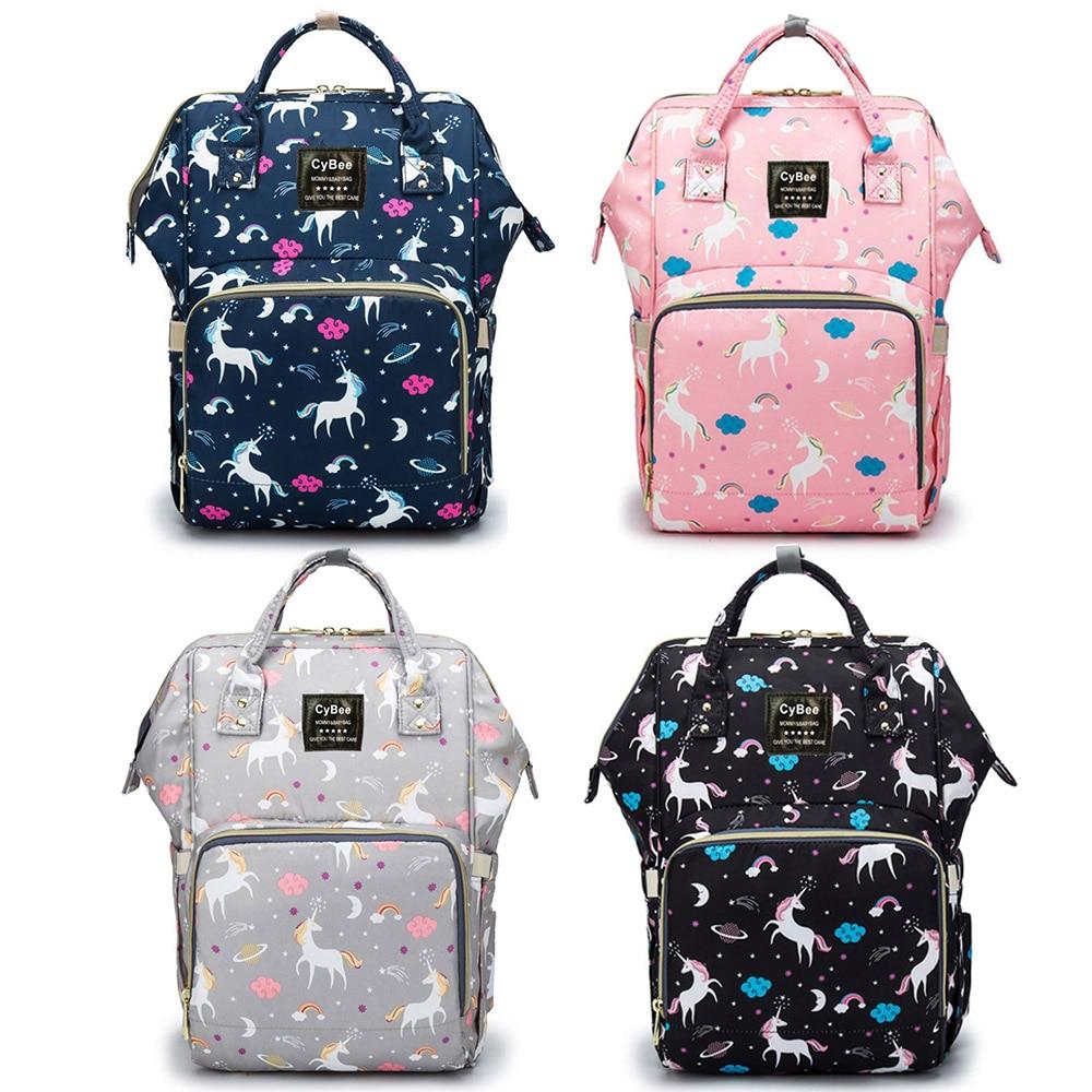 Waterproof Diaper Bag Backpack Luiertas Multi-Function Large Capacity Travel Backpack Nappy Bag Unicorn Print Baby Bag For Mommy