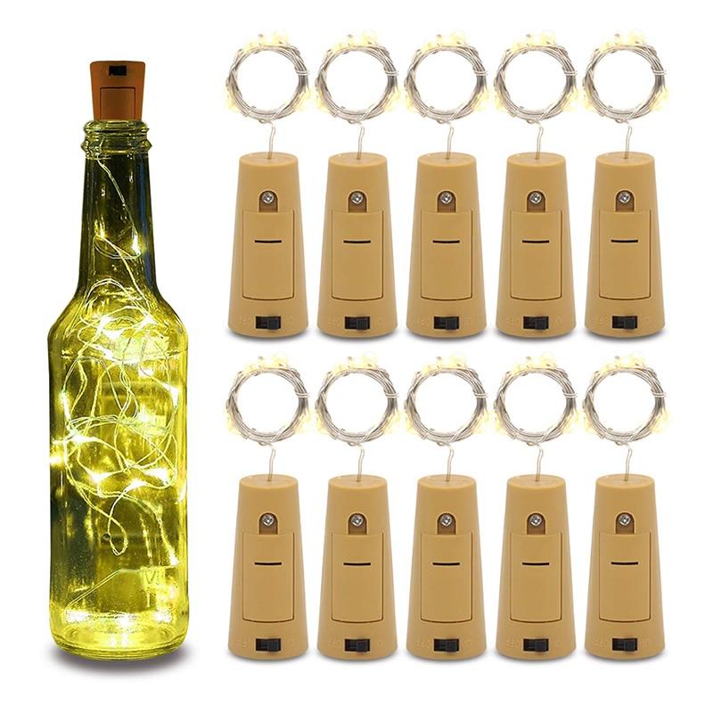 Rantion String Led Wine Bottle Light With Cork 20 LED Bottle Lights Battery Cork For Party Wedding Christmas Halloween Bar Decor