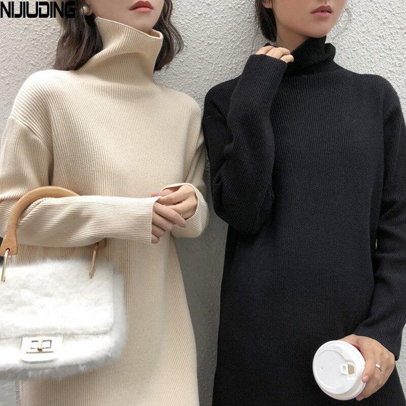 Женское трикотажное платье NIJIUDING, винтажное однотонное облегающее платье трапециевидной формы с длинным рукавом, Осень зима 2020 Платья      АлиЭкспресс