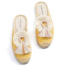 모피 슬리퍼 여성 고무 대마 색상 Tienda Soludos 봄 여름 술 털이 공 캔버스 뮬 신발 Espadrilles 슬라이드