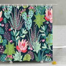 180*180cm Waterproof Shower Curtain For Bathroom Bathtub Curtains Polyester Green Tropical Plants Cactus Print