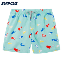 Beach Shorts Swimwear Surfing Printed Quick-Dry Summer Mens with Mesh-Lining Pockets