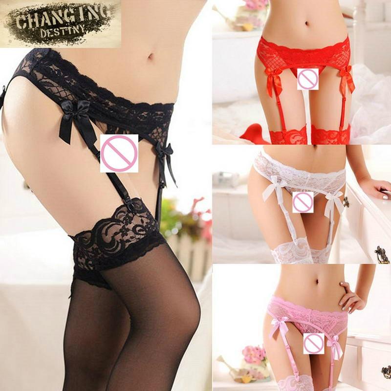 3 Pcs / Lot  Apparel Accessories Sexy Lingerie Women Sheer Lace Top T- Back G- String + Stockings + Garter Belt Suspender Set