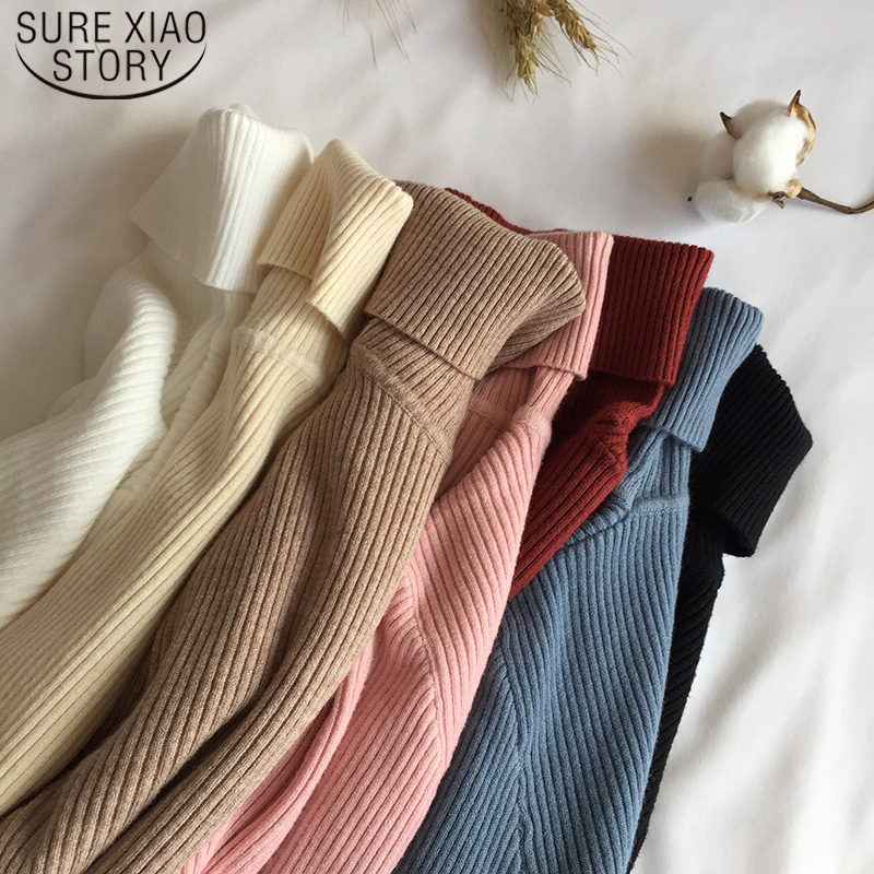 2019 Slim Long Sleeve Turtleneck Autumn Winter Sweater Women Knitted Ribbed Pullover Sweater Jumper Soft Warm Pull Femme 6897 50